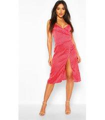boutique satin polka dot wrap slip dress, red