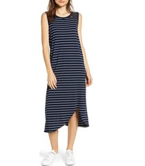 frank & eileen relaxed asymmetrical hem tank dress, size small in british royal navy w/white st at nordstrom
