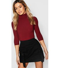 petite rib turtle neck 3/4 sleeve top, berry