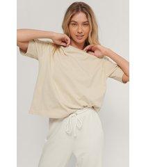 na-kd basic ekologisk oversize t-shirt - beige