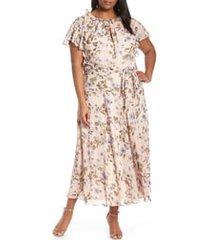 plus size women's tahari floral print swiss dot maxi dress