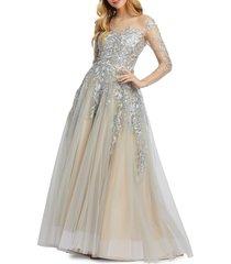 mac duggal women's metallic ruffled illusion gown - platinum - size 16