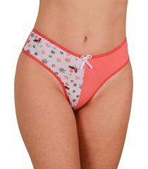 calcinha em cotton vip lingerie com frente estampada coral