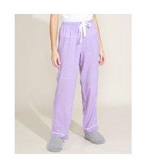 calça feminina pijama estampada de poá cintura média com viés e cordão lilás