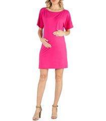 24seven comfort apparel loose fit dolman sleeve maternity dress with scoop neckline