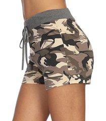 shorts de cintura con cordón de camuflaje verde militar