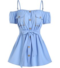 flat pocket button through belted blouse