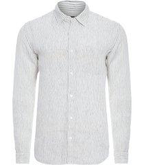 camisa masculina linen thin stripes - off white