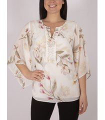 ny collection tunic top with jeweled yoke