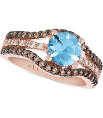 le vian chocolatier sea blue aquamarine (9/10 ct. t.w.) & diamond (1/2 ct. t.w.) ring in 14k rose gold