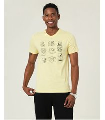 camiseta slim estampada malwee amarelo - pp