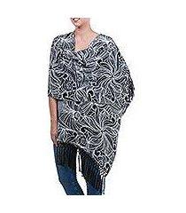 alpaca blend shawl, 'floral curves' (peru)