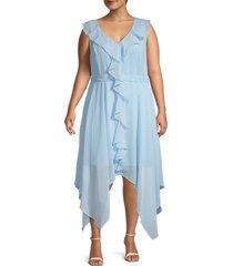 emma & michele women's plus ruffle trim handkerchief dress - blue - size 20w