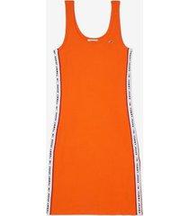tommy hilfiger women's logo tape tank dress orange - xs