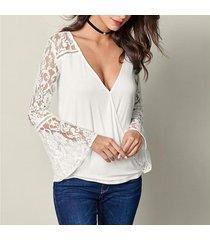 zanzea v cuello largo de la manga de la llamarada pullover top de la camisa del cordón del ganchillo del remiendo elegante del partido blusas moda ocio sólido blusa blanca -blanco