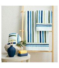 toalha de banho lepper aquarela geométrico 3 peças azul