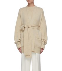 belted open cashmere cardigan