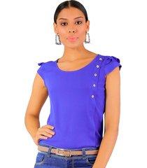 blusa manga corta azul rey unipunto 32267