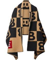burberry reversible cashmere blanket cape - neutrals