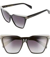 rag & bone 59mm gradient cat eye sunglasses in black at nordstrom