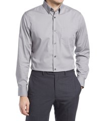 men's nordstrom trim fit non-iron stretch chambray button-up shirt, size 2xl - grey