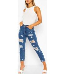 erg distressed skinny jeans, middenblauw
