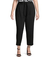 plus self-tie high-rise ankle pants