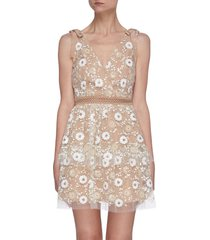 floral sequin bow detail braid waist mini dress