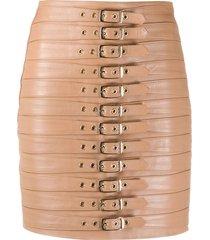 manokhi buckle-detail mini skirt - neutrals