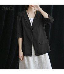 zanzea ocasional de las mujeres del algodón flojo blazer abrigos camisas de las tapas de la blusa del tamaño extra grande -negro