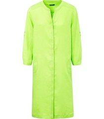 jurk van 100% linnen met 3/4-mouwen van basler groen