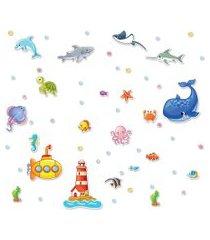 adesivo de parede infantil fundo do mar 76 adesivos