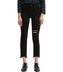 women's levi's ripped high rise straight leg crop raw hem jeans, size 27 - black