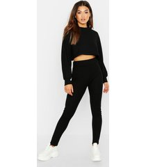rib knitted oversized top & legging co-ord set, black