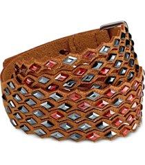 swarovski silver-tone crystal fabric wrap bracelet