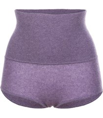 khaite belinda high-rise wool shorts - purple