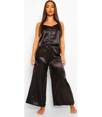 premium regenboog pyjama hemdje en broek met steentjes en knopen, black