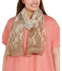 calvin klein ombre snake-print chiffon scarf