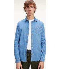 camisa tjm stretch denim azul tommy jeans