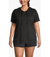 lane bryant women's active seamed dolman sleeve hoodie 22/24 black