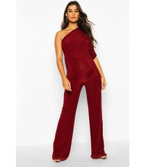 maternity drape sleeve jumpsuit, wine