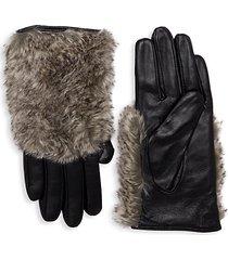 faux fur-trim leather gloves