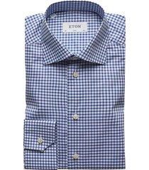 eton men's slim-fit natural stretch check dress shirt - blue - size 17.5