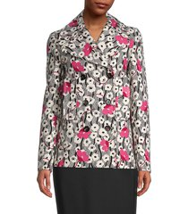 valentino women's floral virgin wool pea coat - black white pink combo - size 46 (12)