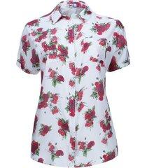 camisa manga corta estampada color rojo, talla 2xl