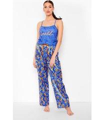 tijgerprint hemdje & broek pyjama set, navy