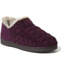 dearfoams women's hayden chunky cable knit bootie slippers