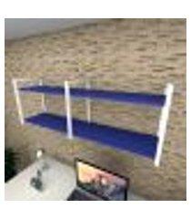 prateleira industrial para escritório aço branco mdf 30 cm azul escuro modelo indb04azes
