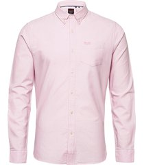 classic university oxford l/s shirt skjorta casual rosa superdry