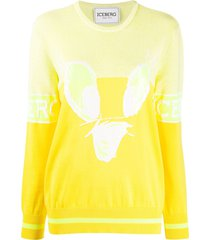 iceberg crew neck sequin embellished sweater - yellow